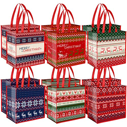 Aneco 12 Pieces Extra Large Christmas Ugly Sweater Non-Woven Bags Christmas Party Bags 14 x 13.8 x 7.5 Inches Gift Candy Bags Tote Bags with Handles for Party Supplies