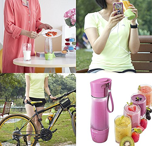 Petolar Mini Juicer Machine Rechargable Battery with Power Bank Function For Camping Trip/Picnic Pottable Juicer Cup Bottle 430ML Pink