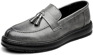 HCP-MX Zapatos de Cuero de la PU para Hombre Zapatos de Estilo clásico Slip-on con borlas y Suela Exterior Oxfords.