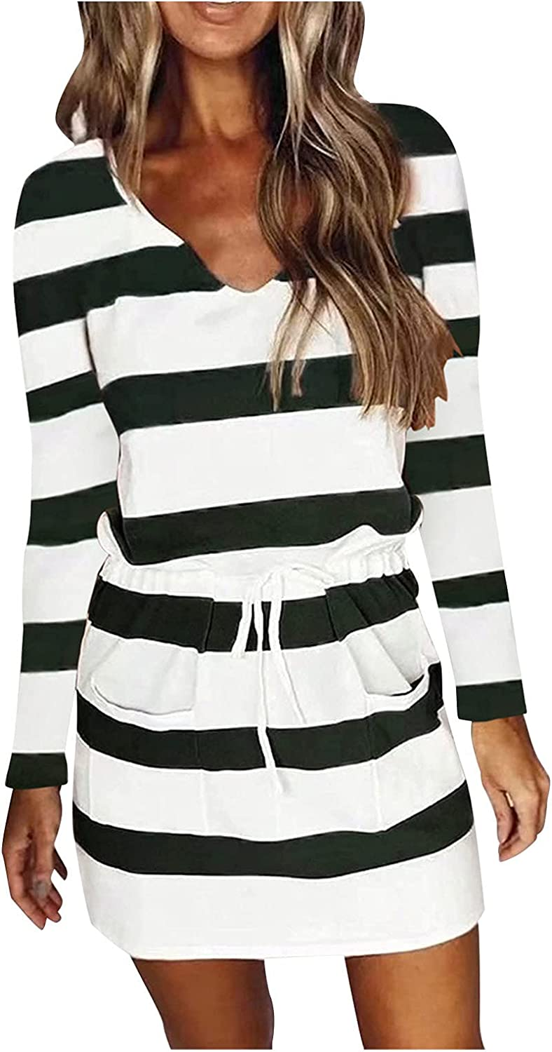 Fanteecy Womens Basic Crewneck Belted Office Dress with Pockets Stripe Print Long Sleeve Party Slim Dress
