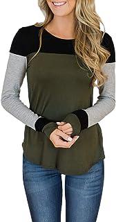 Women's Long Sleeve Crew Neck Cute Tunic Color Block Tops