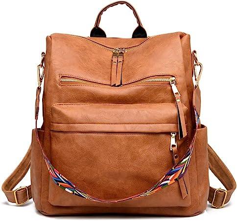 ZOCILOR PU Women's Fashion Backpack Purses Multipurpose Design Convertible Satchel Handbag