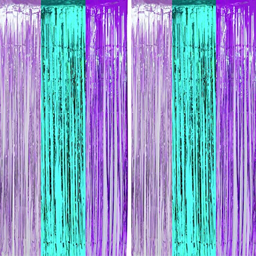 Teal Purple Tinsel Foil Fringe Curtains - Under The Sea Mermaid Birthday Baby Shower Photo Backdrops Wedding Summer Beach Pool Party Decor Photo Booth Props Backdrops Decorations,3.2 x 9.5 ft, 2PC