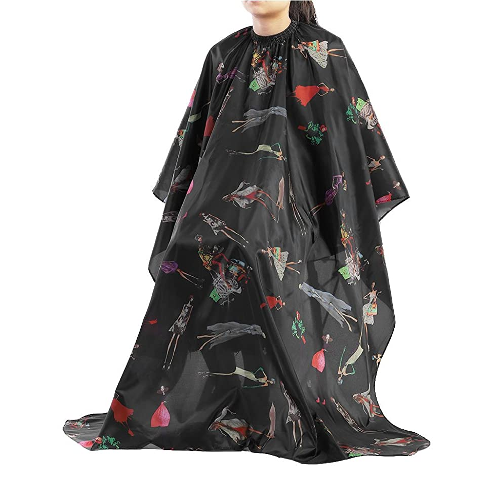 Delaman Salon Hair Cut Hairdressing Barbers Black with Red Stripes Hair Cutting Cape for Adult