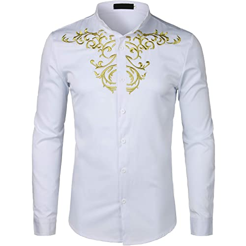 ZEROYAA Mens Hipster Gold Embroidery Mandarin Collar Slim Fit Long Sleeve  Casual Dress Shirts 6666af286