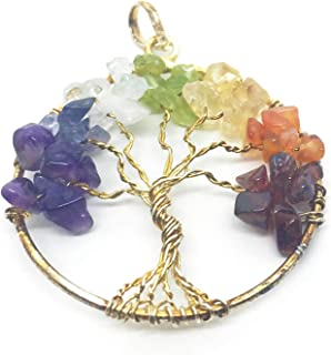 Chakra Tree of Life Rainbow Pendant Gemstone Charm for Necklace or Earrings, 1.5 Inch