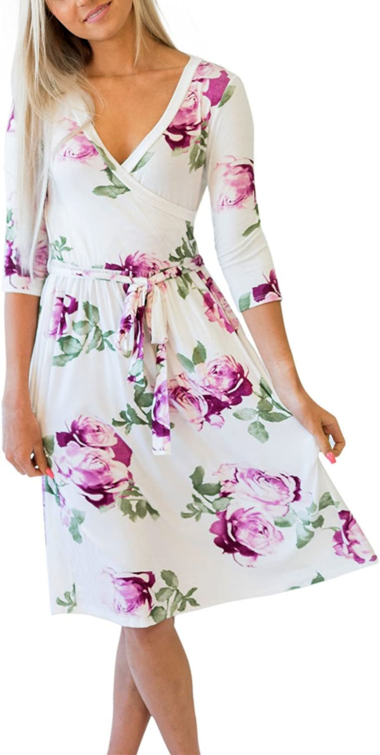 Retro Lady Womens Casual Floral V neck Midi Long Wrap Dress with Belt