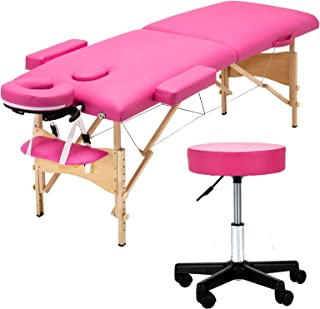 Uenjoy Folding Massage Bed with Stool, 84'' Professional 2 Fold Lash Bed with Head-& Armrest, Pink