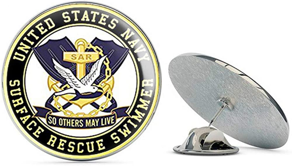 NYC Jewelers Round SAR US Navy Surface Rescue Swimmer (Logo so Others May Live) Metal 0.75