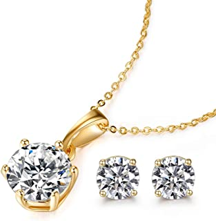 Gold Necklaces for Women,18K Gold Plated Cubic Zirconia Necklace,Solitaire Pendant Necklaces for Girls,Women Jewelry Set Gift