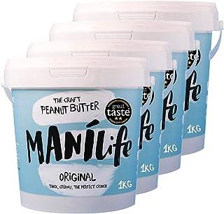 ManiLife Mantequilla de Cacahuete 4kg - Peanut Butter - Natural, de origen único, sin aditivos, sin azúcar añadida, sin aceite de palma - Crujiente Tostado Original - (4 x 1kg)