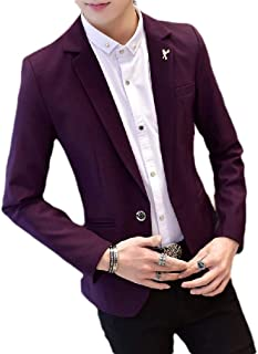 Mogogo Men's Fit Business One Button Notch Lapel Patch Blazer Suit Coat