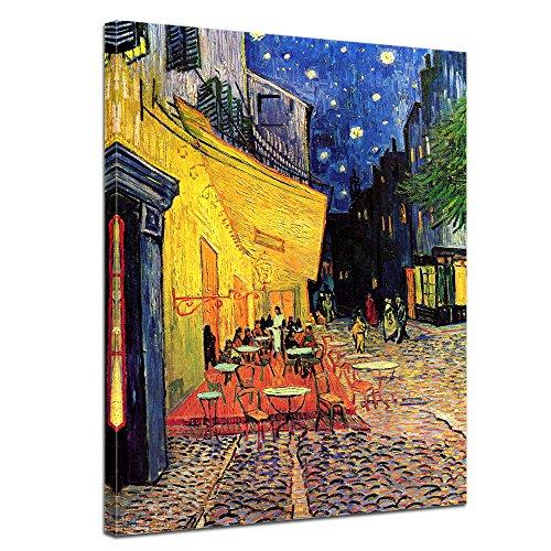 Leinwandbild Vincent Van Gogh Caféterrasse am Abend - 60x80cm hochkant - Wandbild Alte Meister Kunstdruck Bild auf Leinwand Berühmte Gemälde