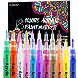 Acrylic Paint Pens, Paint Marker for Rock Painting, 18 Colors Permanent Acrylic Markers Fine Tip Ideal for Craft, Glass, Fabric, Ceramic and More