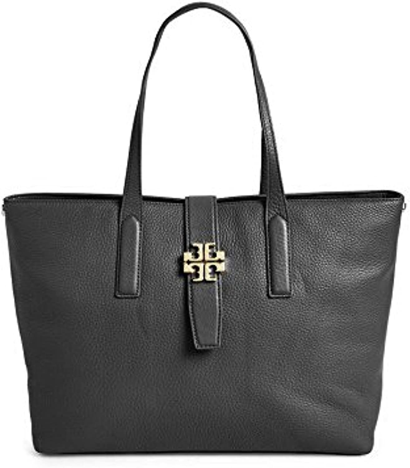 Tory Burch Plaque Leather Tote Handbag Dustbag N Authentic Sale special price Black Fashion