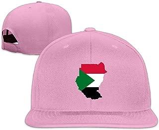 ZYXcustom Sudan Flag Map Washed Unisex Adjustable Flat Bill Visor Hip-Hop Hat