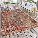 Paco Home Teppich Outdoor Rot Terrasse Balkon Orientalisches Design Robust Wetterfest, Grösse:160x220 cm