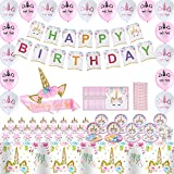 164 Pcs Unicorn Birthday Decorations for Girls Unicorn Party Supplies Include Birthday Banner - Plate-napkin - Cup -f Ork -s Poon - Straw - Headwear - Balloon-etiquette Belt - Tablecloth - Wrappers - Cupcake Toppers for Unicorn Birthday Party