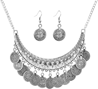 CHOA Ethnic Carved Coin Necklace&Earrings,Vintage Gypsy Indian Jewelry Set for Women