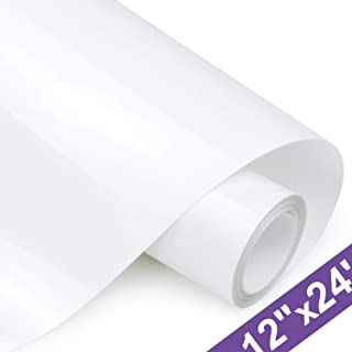 HTV Iron on Vinyl 12 Inch x24 Feet Roll by ARHIKY for Silhouette and Cricut Easy to Cut & Weed Iron on Heat Transfer Vinyl DIY Heat Press Design for T-Shirts Glossy White