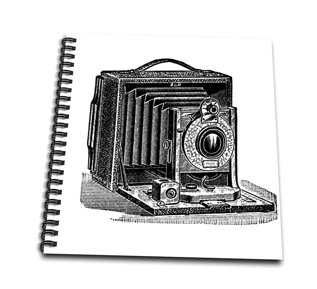 3dRose db_161554_1 Black and White Vintage Camera Ink and Pen Print. Old-Fashioned Photography Photographer-Drawing Book, 8 by 8