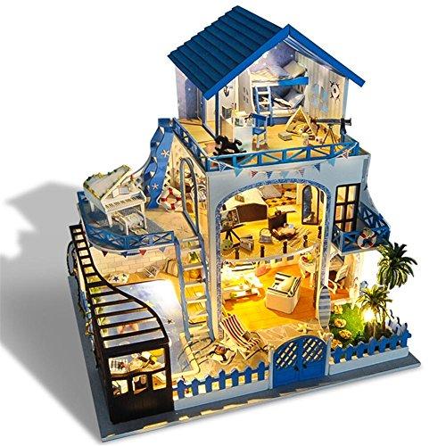 Hearthrousy DIY Puppenhaus Miniatur Haus Selber Bauen Zum Basteln Zubehör Holz Lernspielzeug Spielzeug Kinder 3D Liebe Meer Villa Miniatur Aus Holz mit Musikwerk Ohne Staubschutz