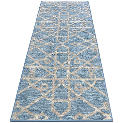 casa pura Alfombra Diseño Marroquí - Alfombras Largas de Diseño | NAVELLI | Alfombra Árabe Antideslizante | 100% Poliamida | 16 Tamaños, (Azúl, 80x300cm)