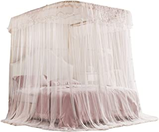 QNJM Lace Square Netting Curtain Princess Tent, Canopy Mosquito Net Curtain, Easy to Install (Size : 5ft Bed)