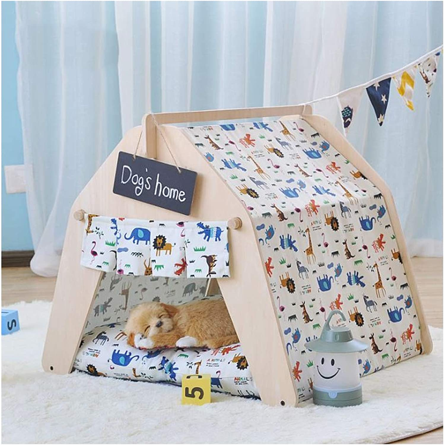 GDDYQ Pet Sleeping Tent Cat Dog Indoor Shack Game House Removable Cleaning With Small Blackboard,Tent,S