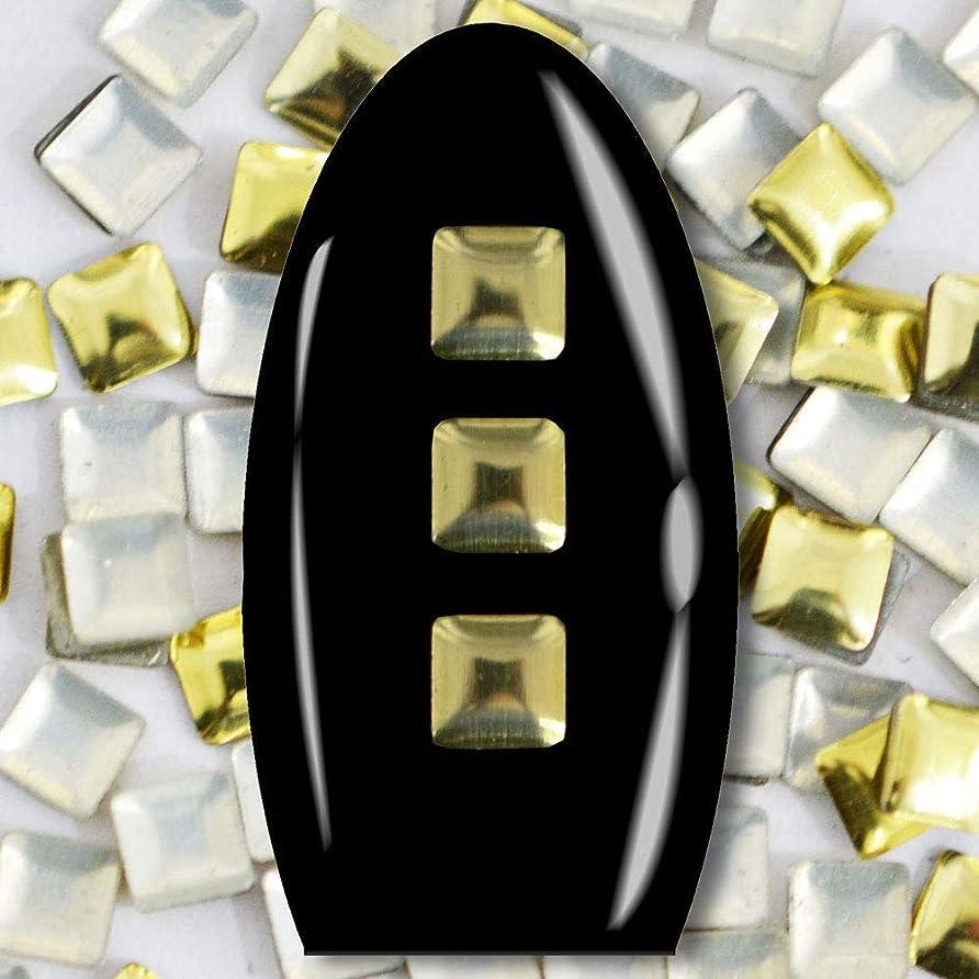 責任木製マニアメタルスタッズ ネイル用 50粒 STZ019A スクエア ライトゴールド 3mm