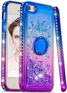 9c33a3fe625 Funda para iPhone 5/5S/5SE, Silicona Purpurina Carcasa con Brillante  Diamantes Anillo