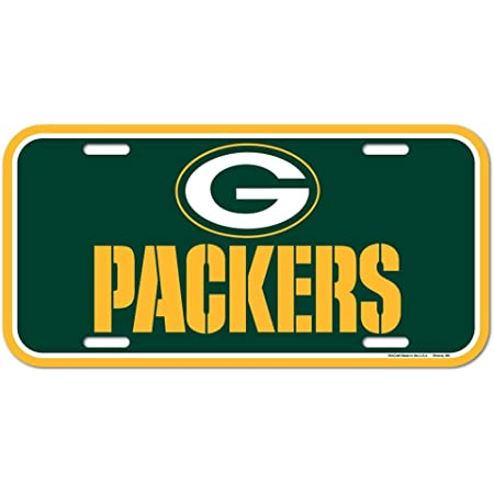 Green Bay Packers Black Crystal Mirror Laser License Plate