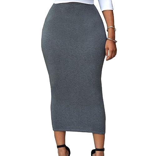 aef75815d SEBOWEL Women High Waist Office Bodycon Stretch Jersey Midi Pencil Skirts