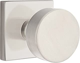 Square Rosette Door Set with Disc Knobs Privacy in Satin Nickel