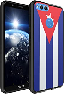 Huawei Honor 7X Case, Capsule-Case Hybrid Slim Hard Back Shield Case with Fused TPU Edge Bumper (Black) for Huawei Honor 7X - (Cuba Flag)