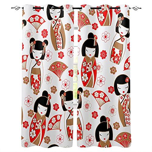 QWFDAQ Cortinas Flor de muñeca Japonesa Rojo marrón Blanco Cortinas Opacas 140cm x250cm x2 Cortina Opaca- Cortinas Salón Opacas, Dormitorio Moderno, Opacas Suaves, con Ojales