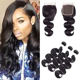 Mulsanne Brazilian Hair Body Wave 3 Bundles with Closure 100% Unprocessed 8A Virgin Human Hair Bundles with Lace Closure 4x4 Natural Black Color Hair Extensions (16 18 20+16 Free Part)