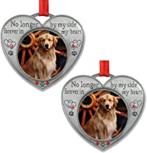 BANBERRY DESIGNS Pet Memorial Picture Ornament - No Longer by My Side - Heart Shaped Photo Frame Ornament - Loss of a Pet - Pet Sympathy - 2 Pack