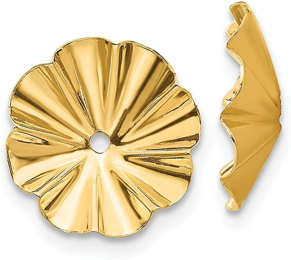 Solid 14k Yellow Gold Unique Earring Jackets 7mm