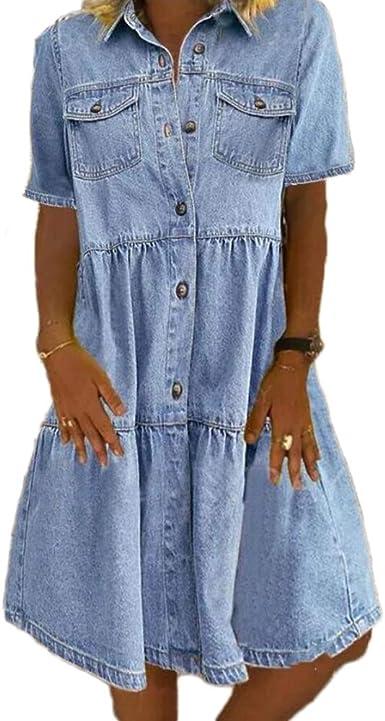 Godoboo Vestido vaquero para mujer, cuello en V, vestido de verano, suelto, de un solo color, vestido de camisa de mezclilla ligero, vestido de fiesta