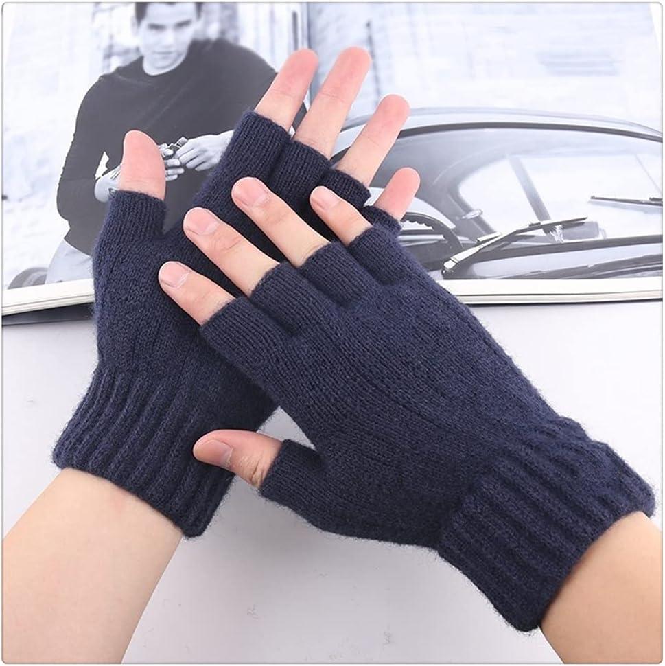 WBDL Outdoor Travel Knitted Gloves Unisex Pure Color Keep Warm Half Finger Gloves for Men Women Autumn Winter Fashion Mitten Cashmere
