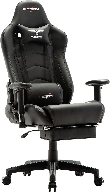 Ficmax Gaming Stuhl mit Massage, Ergonomischer Bürostühle Gamer Sessel für Computer, PU-Leder E-Sport Racing Stühle mit Fulehne, Lendenkissen Büro Sessel für PC (Schwarz)