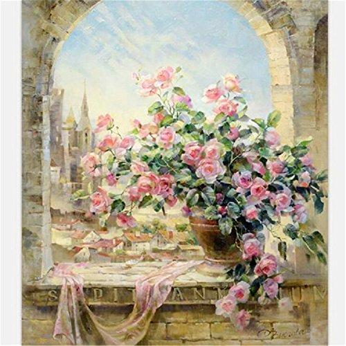 Pinzhi - La Vue de Fenêtre Romantique Bricolage Peinture À l'huile Numérique Toile à La Main Décoration de l?Art Mural
