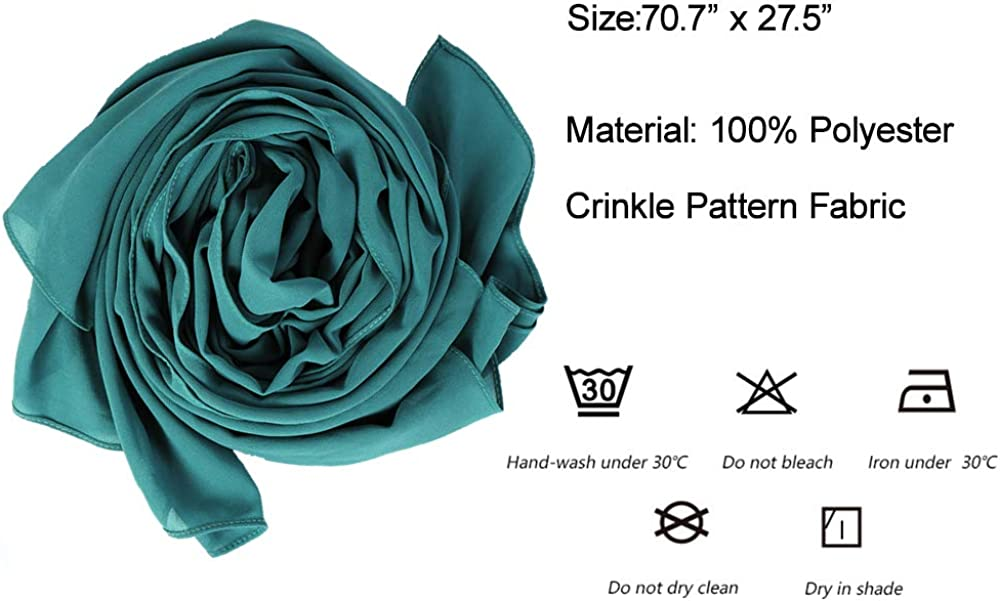 LMVERNA Solid Color Bubble Chiffon Scarf for Women Fashion Soft Hijab Long Scarf Wrap Scarves
