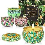 Pomarks Set regalo candele profumate,4 lattine di cera di soia naturale al 100% con oli essenziali per alleviare lo stress,4 fragranze per aromaterapia, perfette per compleanno,festa della mamma