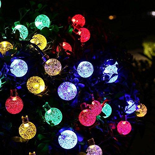 Berocia Catene luminose per esterni solare ip65 Impermeabile Illuminazione Giardino stringa solare luci led Decorative luci natalizie esterno per Portico Cortili 6.5m 30 LED 8 Modalità multicolore