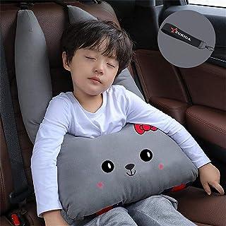 Magiquew カバー 子供 漫画車のヘッドレスト枕車の首枕 高さ調節可 頚部保護 カー用品 車座席用 車用ステッカー 睡眠への子供の車かわいい (グレー)