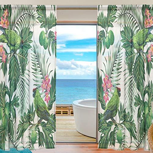 Alarge Fenster-Vorhang, tropische Blumen, Palmenblätter, Voile-Vorhang für Küche, Wohnzimmer, Schlafzimmer, Tür, Fenster, 2 Paneele, Polyester, multi, 55