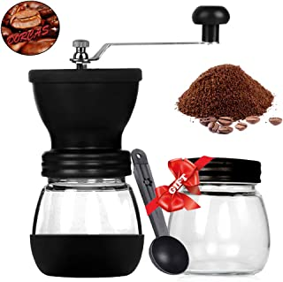 Dorcas Manual Coffee Grinder Set, Hand Coffee Mill with Adjustable Conical Ceramic Burr Two Glass Jars,Spoon and Soft Brush
