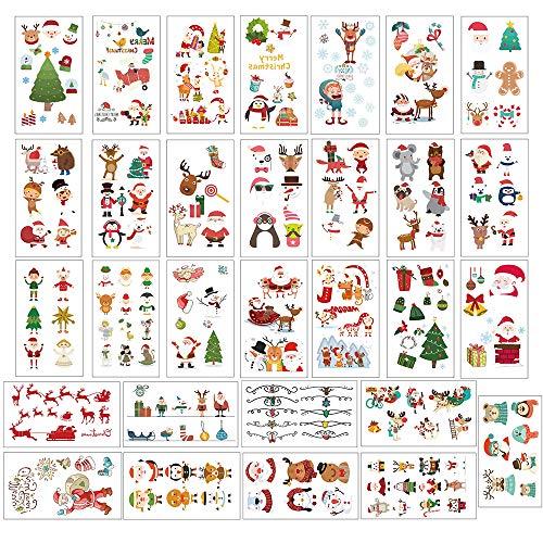JaneYi 30 Blätter Tattoo Kinder Weihnachtstattoo Körpertattoo Kinder Tattoos zum Aufkleben auf Die Haut Temporäre Tattoos Set mit Weihnachtsmann Weihnachtsbaum Rentier für Weihnacht Kinder Party
